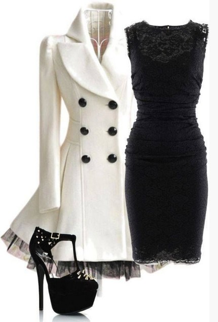 White Outfit for night date, black lace evening dress and ivory peacoat