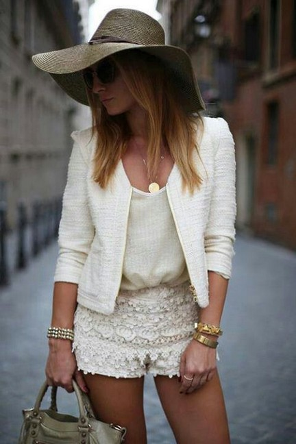 White Outfit , white blazer with lacey hot shorts
