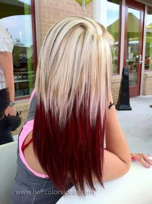 Blond to Red Ombre Hair