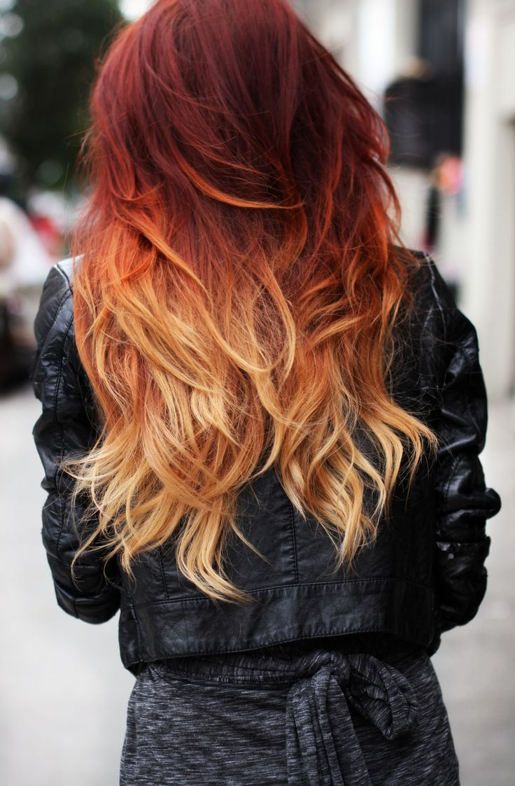 Red to Orange Wavy Hairstyle