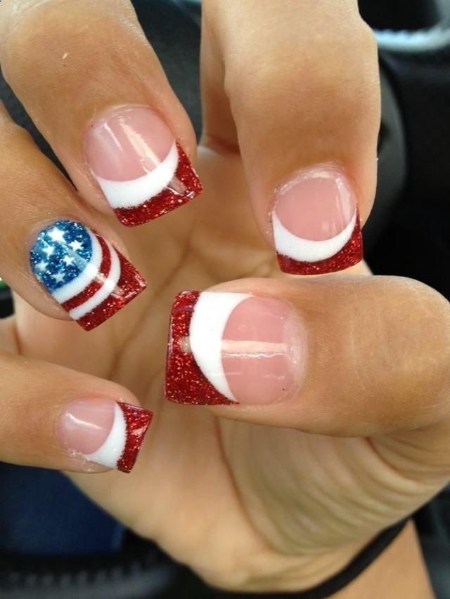 French Manicure with Stars and Stripes