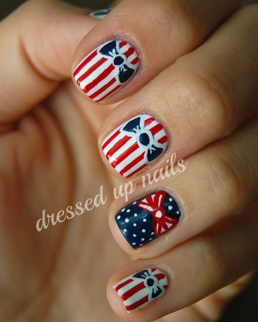 Striped Nail Art Design with Bows
