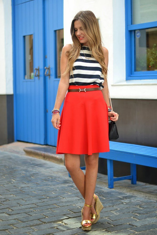 Stripe Top and Red Midi Skirt Outfit Idea