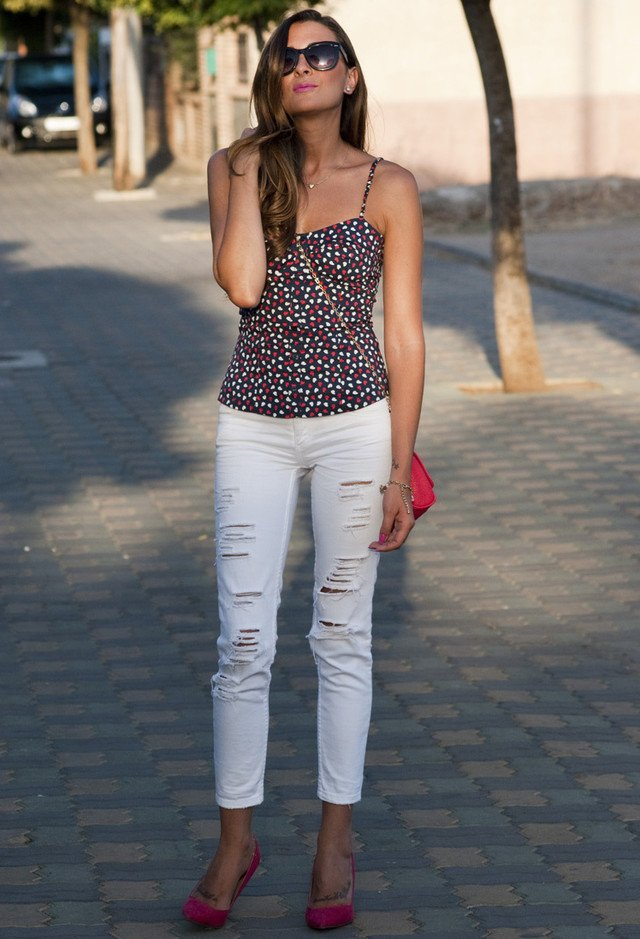 Floral Top and Ripped White Jeans