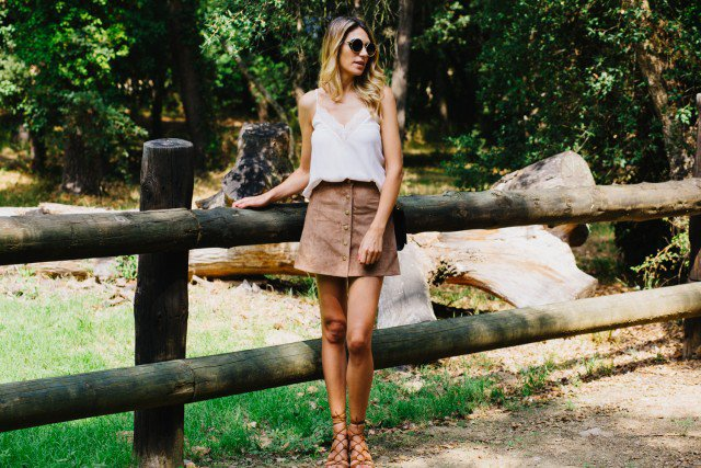 White Top with Suede Button Down Skirt