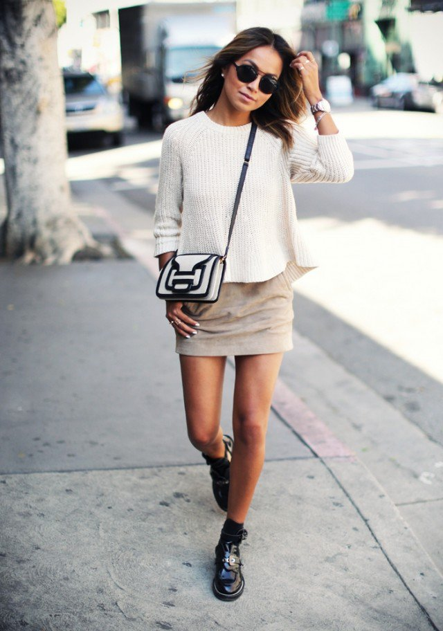 White Sweater with Suede Skirt