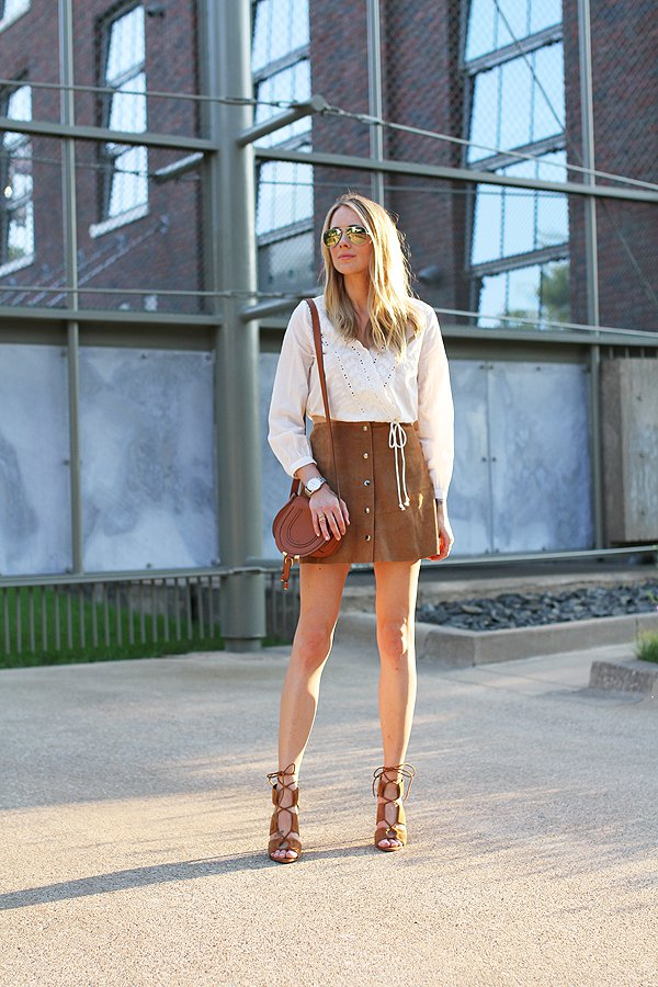 White Shirt with Suede Button Down Skirt