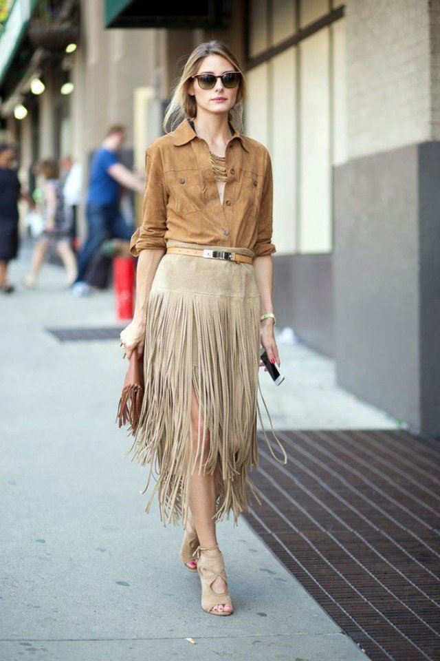 Suede Shirt with Fringe Skirt