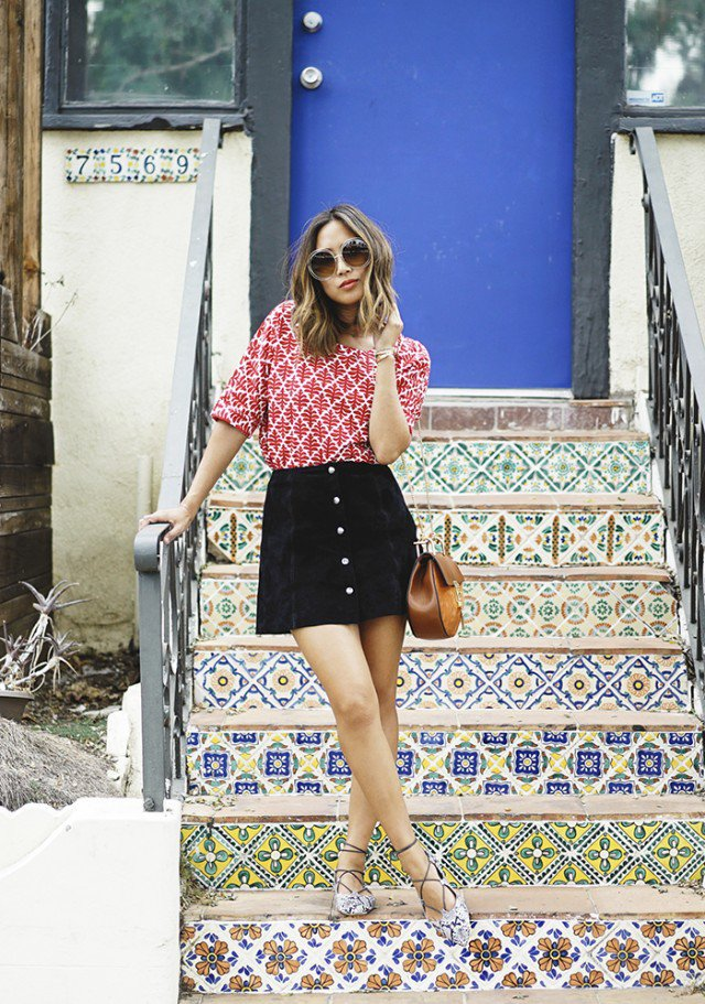 Print Shirt with Suede Button Down Skirt