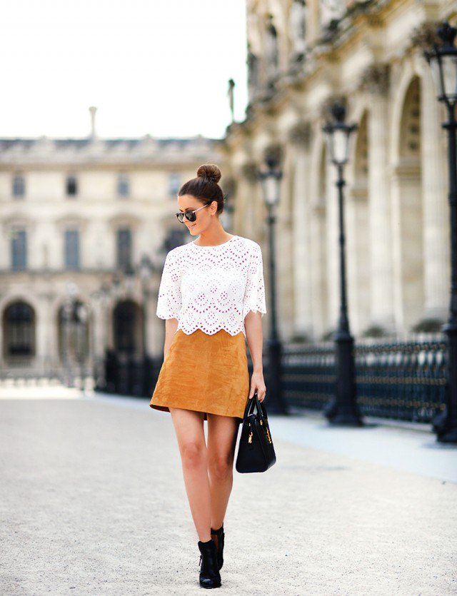 Lace Top with Suede Skirt