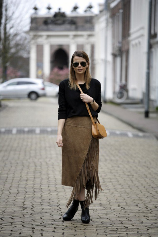 Black Top with Suede Skirt