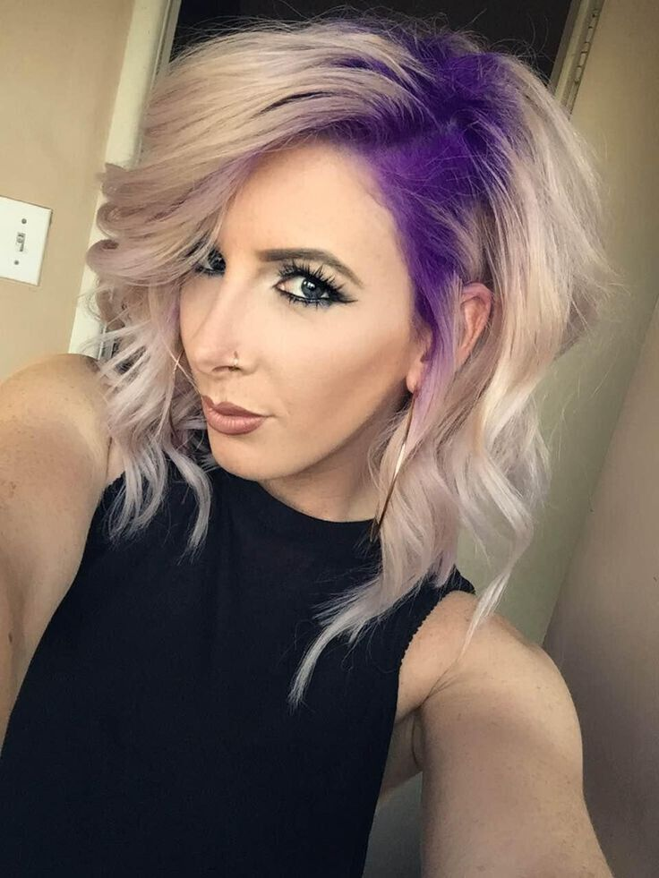 Blond and Purple Wavy Bob Hairstyle