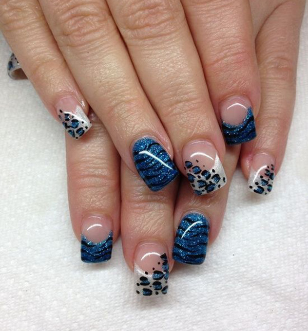 Blue French Tip Leopard Print Nail Design
