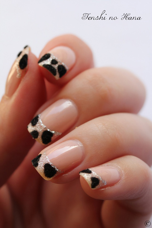 French Tip Leopard Print Nail Design
