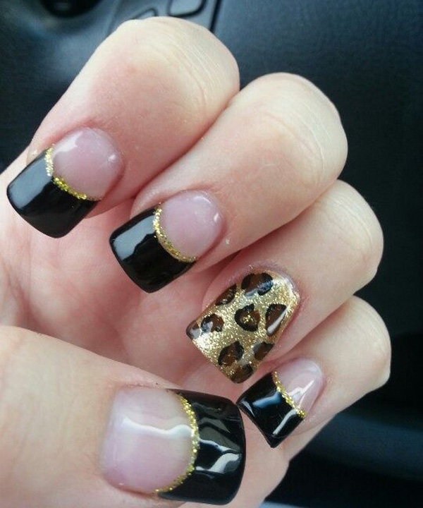 Black and Gold Leopard Print Nail Design