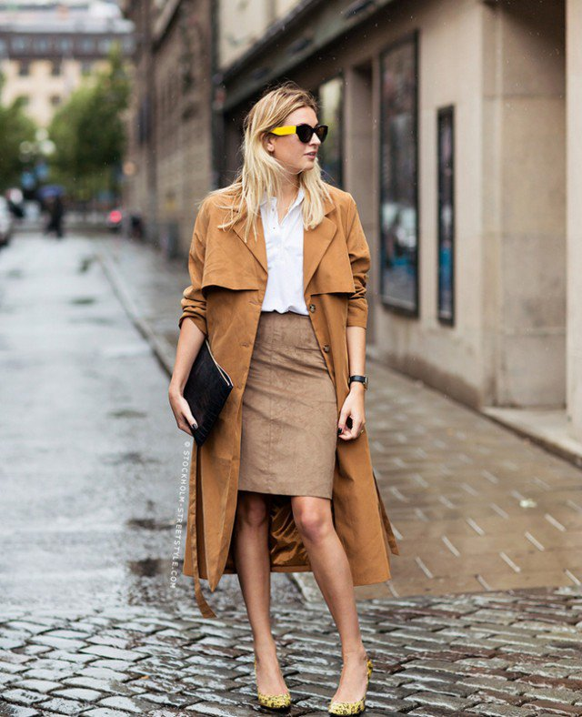 Suede Skirt with Trench Coat