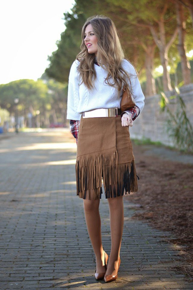 Suede Fringe Skirt with Sweater