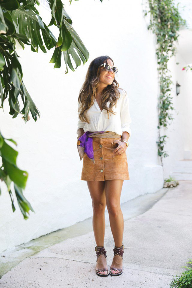 Suede Button-Down Skirt with White Shirt