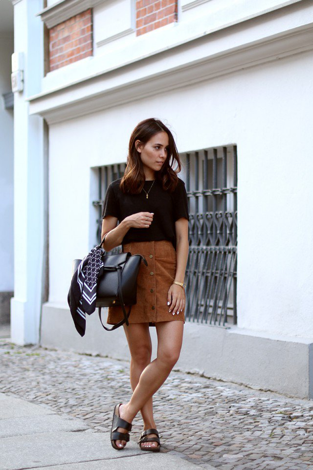 Suede Button-Down Skirt