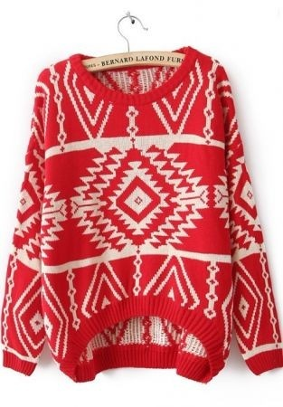 Long Sleeve Red Geometric Pullovers Sweater