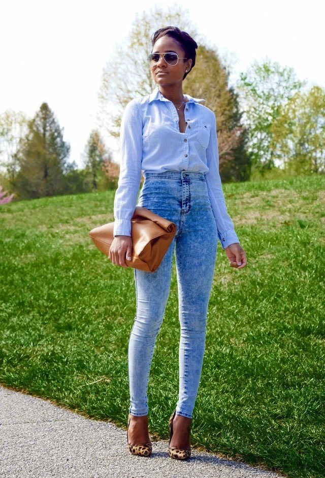 High Waisted Jeans and Blouse