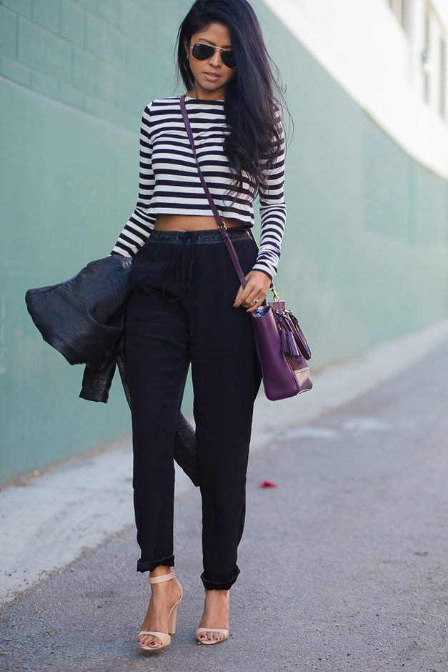 Black High Waisted Pants and Stripe Top